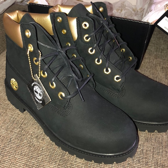 TIMBERLAND LIMITED EDITION Black and Gold Boots NWT